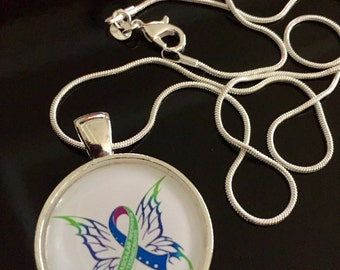 Avascular Necrosis Awareness Necklace - AVN - Blue Purple and Green Butterfly Ribbon - Osteonecrosis awareness