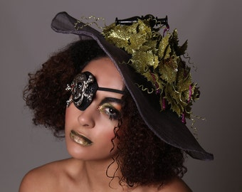 POISON - Couture Glitter Green Ivy Hat Headpeice