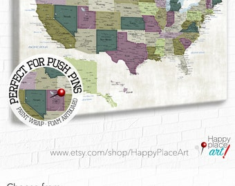 Usa Map Print Etsy - Detailed usa map with states and cities