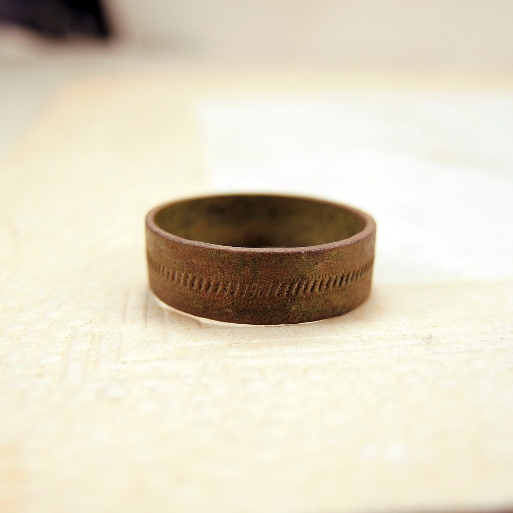 antique brass ring primitive ring wedding ring by vintageussr
