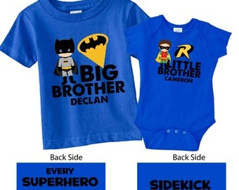Personalized Big Brother Shirts and Matching SIdekick Little Brother Shirts_Royal Blue Printing on Back
