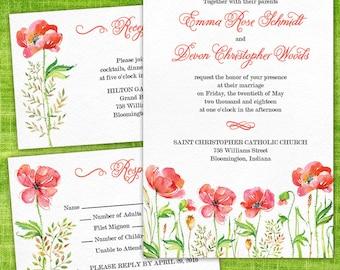 Custom Red Poppy Wedding Invitations