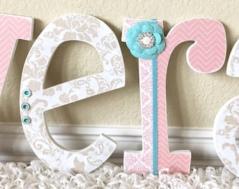 Custom Nursery Letters- Baby Girl Nursery Decor-Gold- Personalized Name- Wooden Hanging Letters - Nursery Wall Letters- The Rugged Pearl