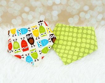 Baby Bandana Bibs - Bermuda Owls & Olive Dots - Set of 2 baby bibs (or choose your own fabric)