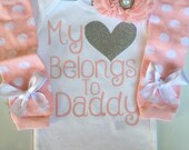 Baby Girl outfit -Coming home outfit - Newborn baby clothes - My heart Belongs to Daddy -Newborn photo prop outfit- Preemie-24 months