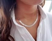 Collier délicat collier géométrique de Fishbone Collier Collier tous les jours délicat argent bijoux en argent plaqué.
