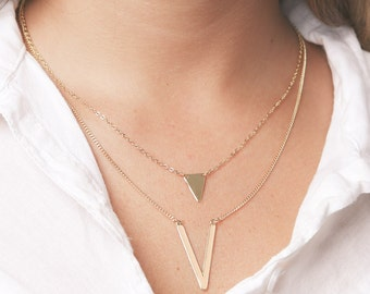 Gold Triangle necklaces set of two layered everyday necklaces Delicate V Necklace gold chain necklaces gold filled jewelry.