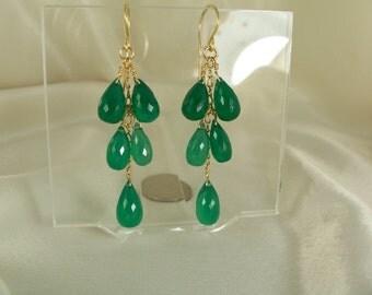 Green onyx earrings 14k gold filled gemstone handmade item 885