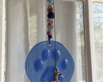 Blue Sun Catcher, Dog Paw Ornament, Dog Stained Glass, Dog Paw Sun Catcher, Cobalt Blue Glass Paw Print, Dog Lover, Brass Dog, Folk Art Dog