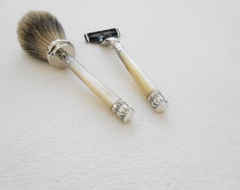 Sterling Shaving Set Badger Shaving Brush and Mach 3 Razor with Antique Mother of Pearl Handles Hallmarked 1894