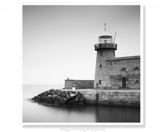 Black and White Lighthouse Photograph, Made In Ireland, Lighthouse decor, Ireland Photography, Howth Harbour