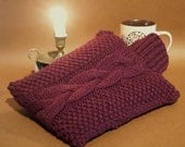 British wool hot water bottle cover wine red handknit soft bottle cosy hottie cover