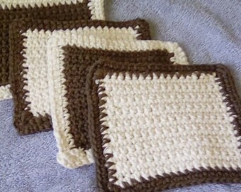 Set of 4 Coasters, Candle Mats, pot holders, hot pads - Ready To Ship HANDMADE Crochet 100 Percent Cotton