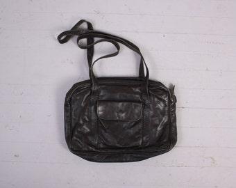 Vintage FRYE Messenger Bag / Black Leather Multi-Compartment Laptop Travel Briefcase Shoulder Bag