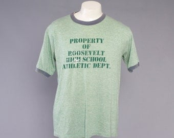 Vintage 80s TRI-BLEND T-SHIRT / 1980s Soft Thin Distressed Heathered Green High School Ringer Tee Tshirt Shirt