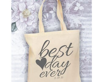 Bride Tote Bag, Best Day Ever Bag, Personalized Tote for the Bride, Wedding Date Bag, Canvas Tote Bag, Bride Bag, Bride Gift, Bride to Be