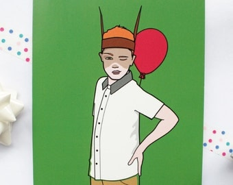 Shakespeare Art Birthday Card Green With Vibrant Red Balloon