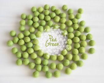 Wool Felt Balls - Size, Approx. 2CM - (18 - 20mm) - 25 Felt Balls Pack - Color Pea Green-1020- Felt Pom Poms - Pea Green Color Felt Balls