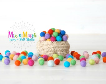 1CM - Tiny Wool Felt Balls - 25, 50, 100 - Colorful Felt Balls - 1CM Wool Felt Balls  (10mm) - 100% Wool Felt Pom Poms - Mix and Match
