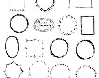 Doodle Frame Clipart, Digital doodle Border, Frames clipart, Ornate Frame, Digital frames, Digital Frame Clip Art, doodle clipart 0928