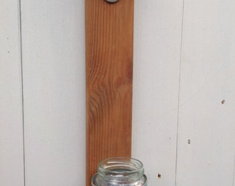 Upcycled wooden wall mounted bottle opener