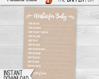 Wishes for Baby Kraft Paper Baby Shower game - printable - Minimalist Unisex Gender Neutral Rustic for Boy or Girl