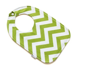 SALE || Baby Bib || Chevron Green & White