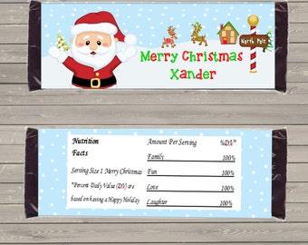 Customizable Printable Santa Candy Bar Wrapper for 1.5 oz Hershey Bars