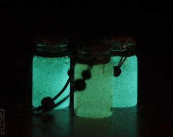 Bottled Ectoplasm - Necklace Pendant - Glow in the dark Glass bottle - Fantasy Magic Ghost Supernatural OOAK