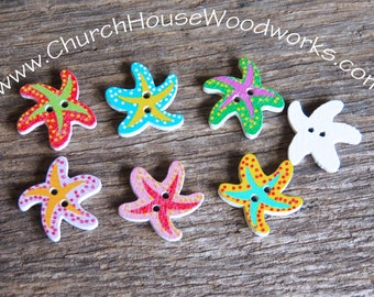 25 Starfish Wood Buttons pack of 25 - Use for sewing, crafts, scrap booking, embellishments, gifts