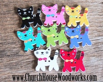 25 Kitty Cat Wood Buttons pack of 25 - Use for sewing, crafts, scrap booking, embellishments, gifts