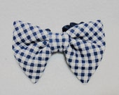 Dog tie Navy blue check dog bow tie Slide-on gingham check dog collar bowtie dark blue Large pet bow for birthday wedding photo prop ( L)