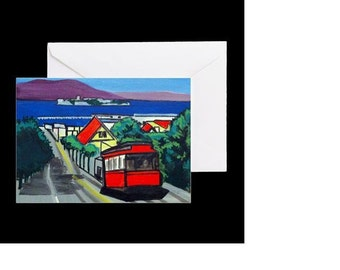 San Francisco Cable Car #1 - 4 Greeting Cards By Artist A.V.Apostle