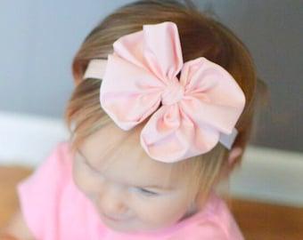 Pink Satin hair bow Headband Shabby Chic vintage hairbow baby headband light pink fabric knot bow