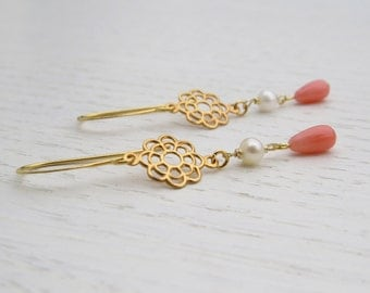 Summer SALE - Pink coral earrings, Coral gold earrings, Gold and pearl earrings