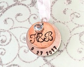 Lucky penny personalized wedding bouquet charm
