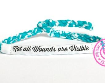 Not all wounds are visible bracelet, Ptsd awareness Bracelet, Ptsd teal ribbon, Military bracelet, Ptsd survivor bracelet