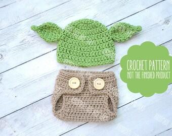 CROCHET PATTERN - Newborn yoda hat and diaper cover pattern, baby yoda hat pattern, crochet baby pattern, photo prop pattern, newborn yoda