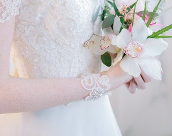 Bridal Cuff, Bracelet - Abbie Bridal Cuff