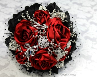 Red Rose Bouquet, Red Bouquet, Red & Black Bridal Bouquet, Red Brooch Bouquet, Alternative Wedding Bouquet, Goth Bouquet