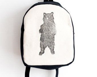 MADE TO ORDER, Customizable, Toddler backpack, Bear print, Block printed, Hand stamped, Kid's backpack