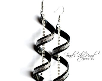 Black Spiral Earrings | Black and White | Twisted Earrings | Glitter Earrings | Helix Earring | Silver Twist Earrings | Modern Black Earring