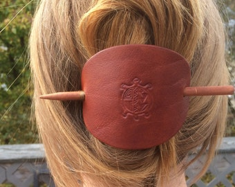 Sea Turtle Leather Hair Barrette, Gifts for her, Large Leather Stick Barrette, Hair Slide, Leather Hair Accessory, Wife Gifts