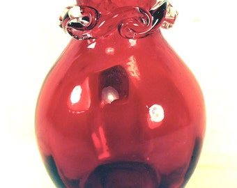 Vintage Ruby Red Vase Desk Accessory Office Decor