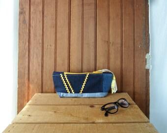 Zip Pouch patchwork recycled denim yellow zipper ric rac flat bottom case