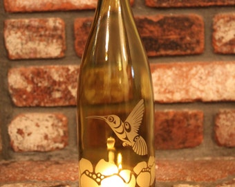 Hummingbird Poppy Wine Bottle Lantern (Stand & Candle Included)