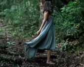 Fern High-Low Maxi Dress / Heather Gray / Twist Strap / Hand Beaded / Midi Dress / Cutout / Sexy Back / Fall / Holiday Dress / Resort