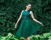 Tessa Tutu / Hunter Green / Sparkle / Tulle Skirt / High Waist / Midi Skirt / Holiday Fashion / Party Dress / Christmas Dress / Bridesmaid