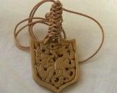 Jade double dragon pendant w leather cord , beaded jewelry , carved Chinese jade , jade pendant , jade bead & cord , leather cord jewelry