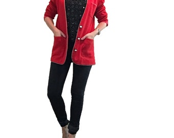 Red Blazer with Pearl Buttons/ Boyfriend Fit Blazer/ Red Jacket/ Bright Red/ Oversized Blazer/ Red Top/ Pearls/ Front Pockets
